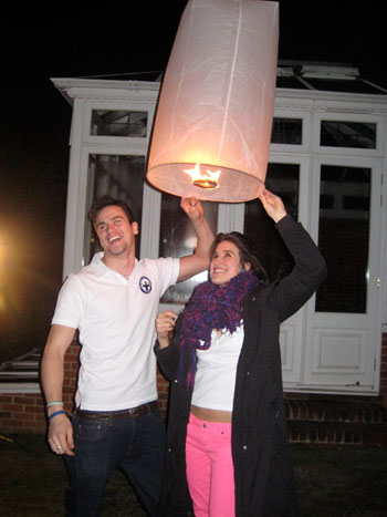 Rory and Louise light their sky lantern